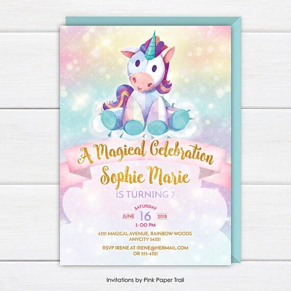 Unicorn Birthday Invitation Cute Unicorn Rainbow Birthday Etsy