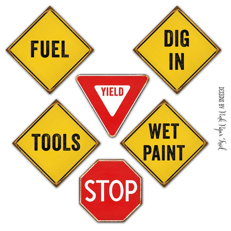 graphic regarding Printable Wet Paint Sign named Structure Celebration Mini Indications, Fast Obtain, Print Your Private