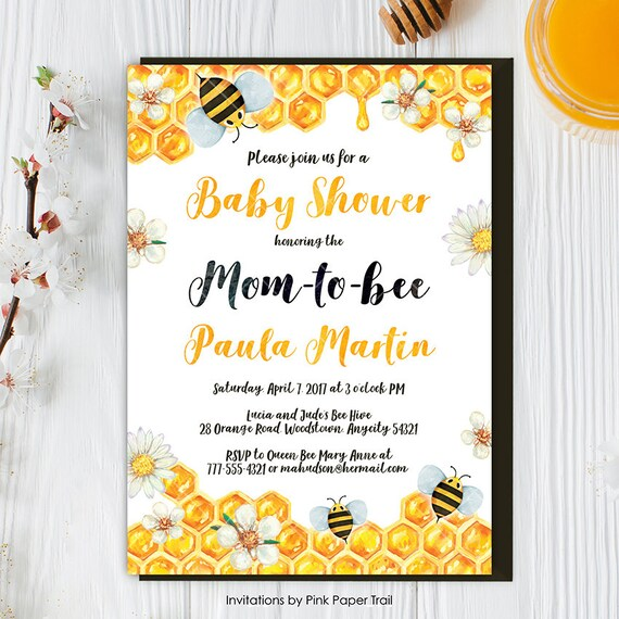 Bee Baby Shower Invitation Honey Bee Bumble Bee Baby Shower Etsy