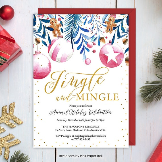 Christmas Party Invitation, Jingle and Mingle Holiday Celebration Invite,  Ornament Exchange, Vintage Holiday Ornaments Printable Invitation - Christmas Party Invitation, Jingle And Mingle Holiday Celebration