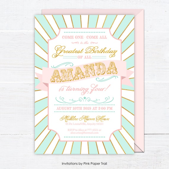 Mint Pink And Gold Circus Birthday Invitation Girl Country Fair Carnival Party Personalized Digital Printable Invite