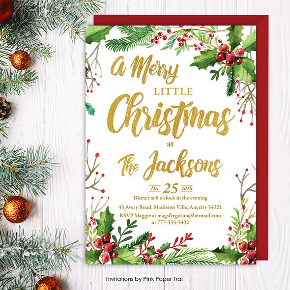 a merry little christmas party invitation  holiday season