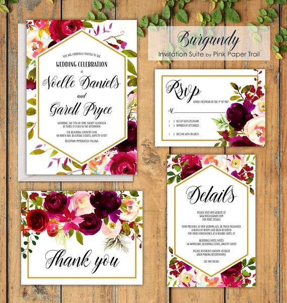 Print Your Own Wedding Invitation: Burgundy Floral Printable Wedding Invitation Suite Roses
