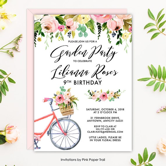 8e634ff430f Floral Garden Bridal Shower Invite Rustic Bicycle and Pink