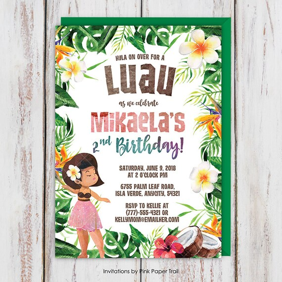 luau hawaiian girl tropical birthday party invitation aloha island