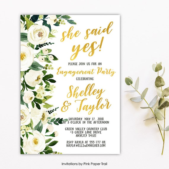 Dainty White Watercolor Flowers And Gold Engagement Party Invitation