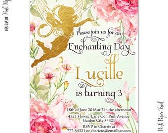 Flower Fairy Invitation, Garden Fairy, Fairy Princess Invitation, I will customize for you, Print your own