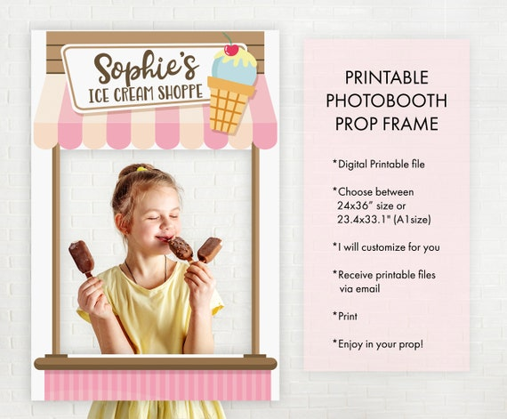 Happy Birthday Ice Cream Selfie Frame Photo Prop Poster