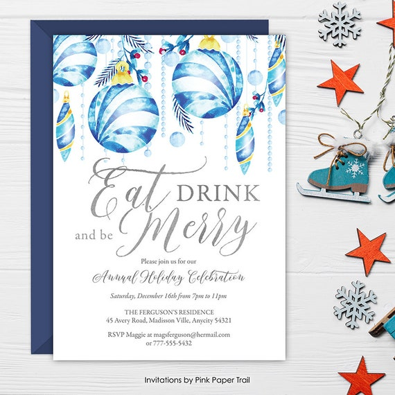 eat drink and be merry christmas party invitation holiday season