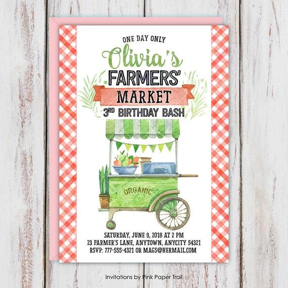 farmers market birthday invitation country fair farm fresh party