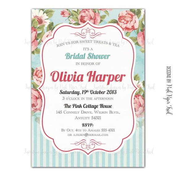 shabby chic invitation floral tea party high tea bridal shower