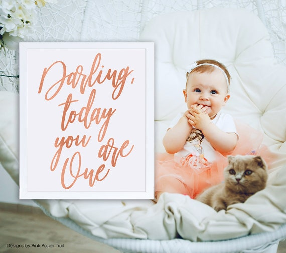 Darling Today You Are One Birthday Decor 1st Bday Photo Shoot Prop