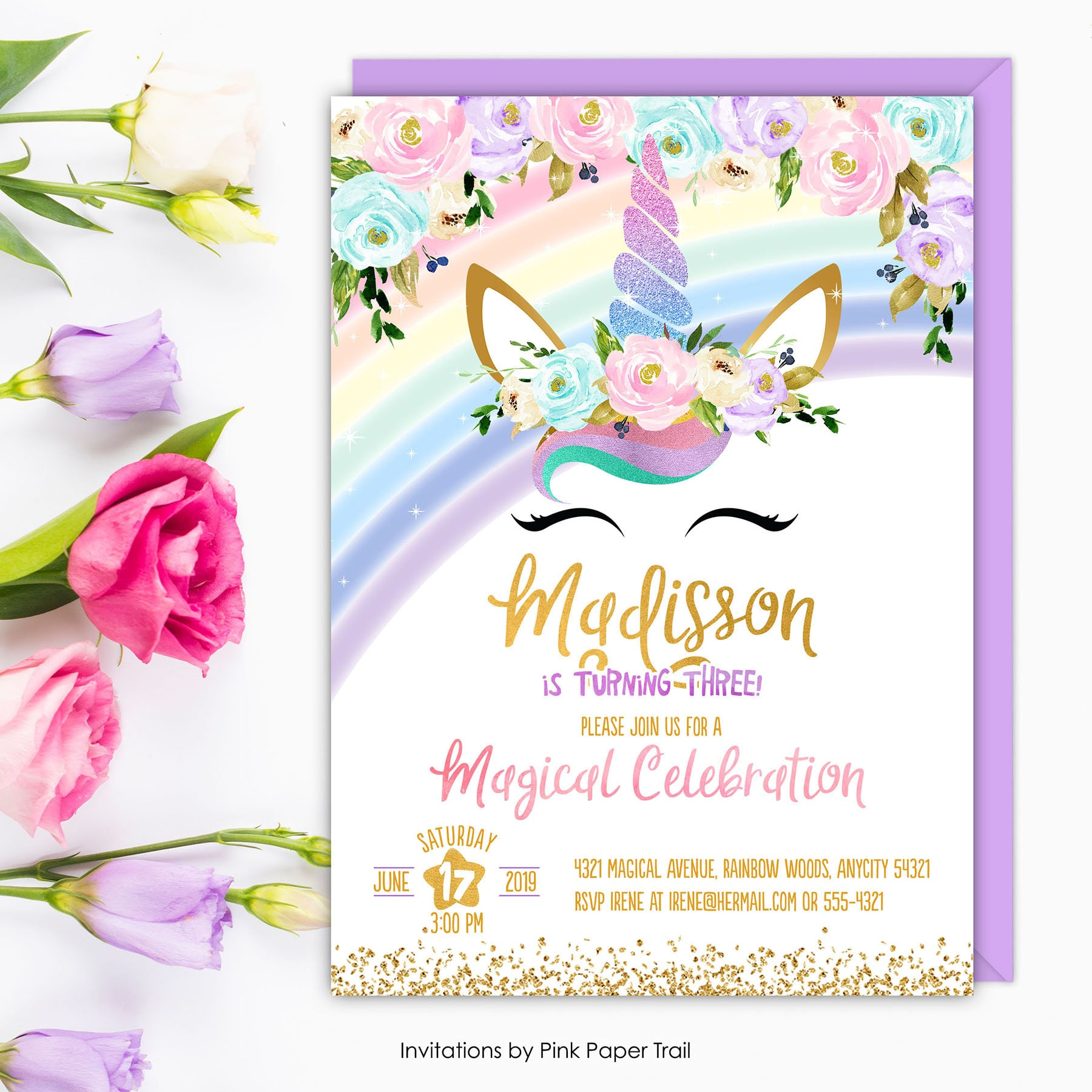 Unicorn Invitation Rainbow Birthday Invite
