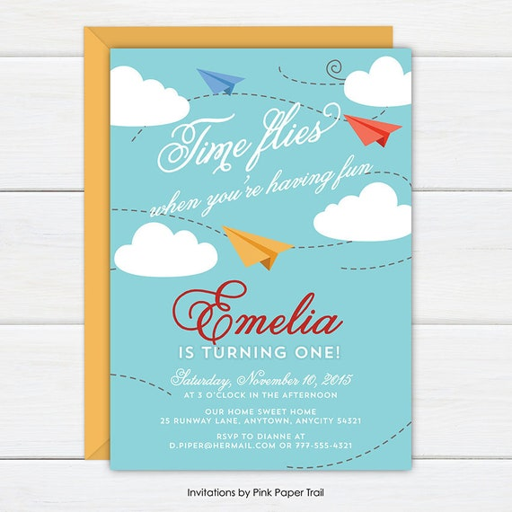 Airplane Birthday Invitation Paper Planes Airplanes