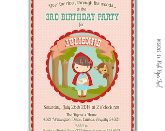 Little Red Riding Hood Party Invitation, I will customize for you, Print your own