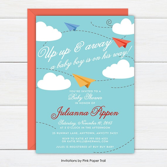 photograph about Printable Invitation Paper identified as Plane Child Shower Invitation, Paper Planes Airplanes Boy or girl