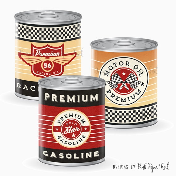 Vintage Racing Tin Can Labels Race Car Party Instant Download
