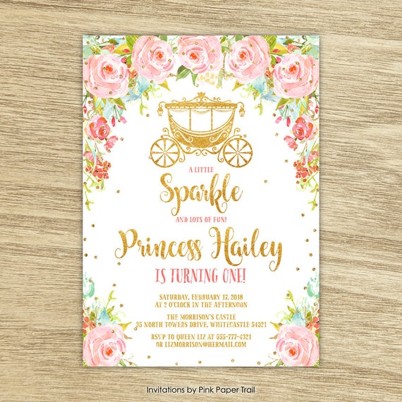 Sweet Floral Princess Birthday Invitation Royal