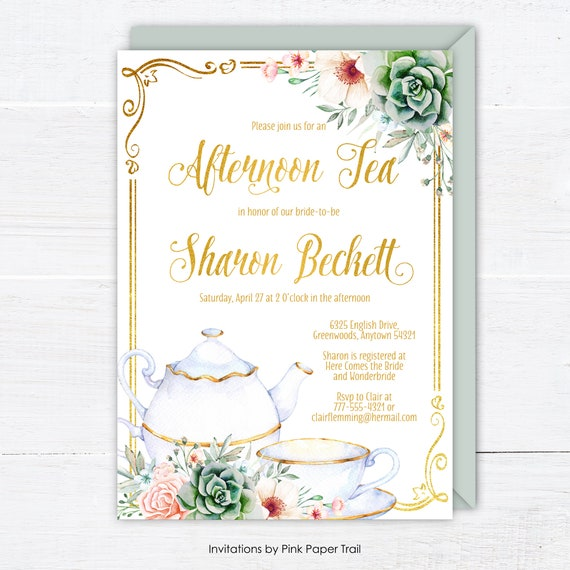Bridal Shower Tea Party Invitation Floral Succulents Pink Gold