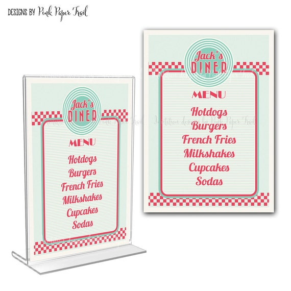 retro diner menu card i will customize for you print your own by