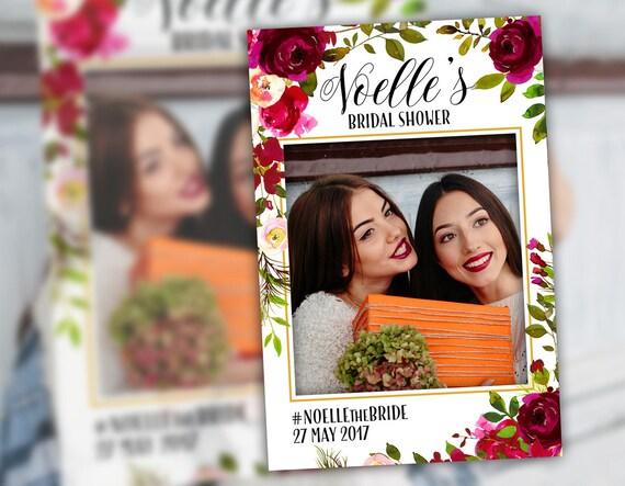 Bridal Shower Photo Booth Frame Props Floral Burgundy Plum Etsy