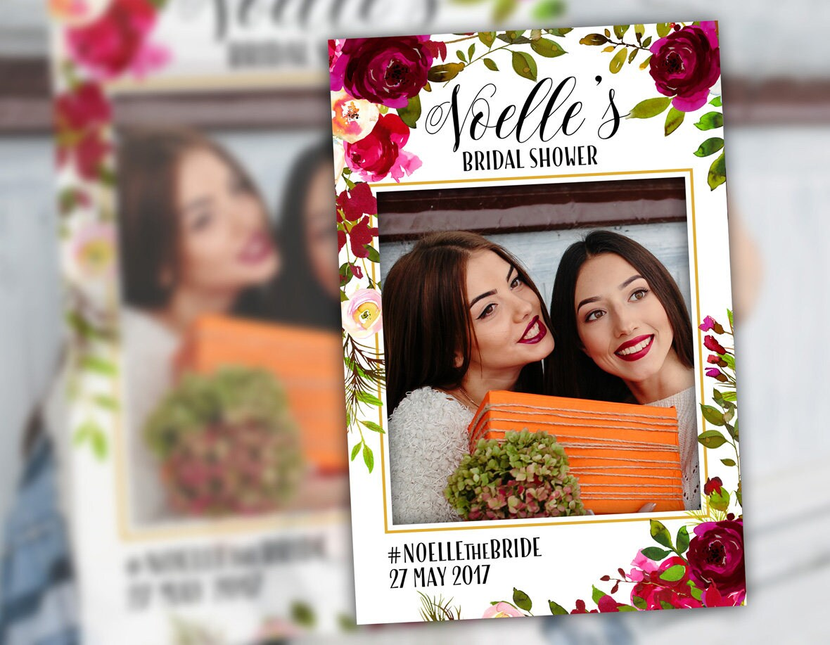 Brautdusche Photo Booth Rahmen Requisiten Blumen Bordeaux   Etsy