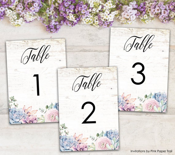 succulents printable wedding table numbers sweet rustic boho floral