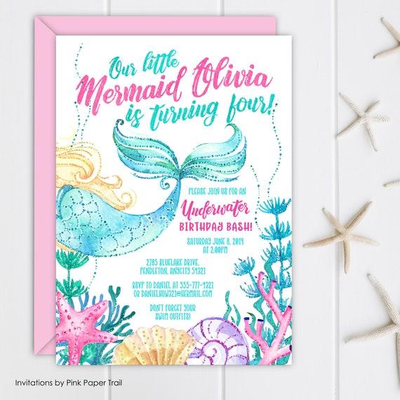 Mermaid Birthday Invitation Splash Under The Sea Bash Invite Little Party Personalized Printable