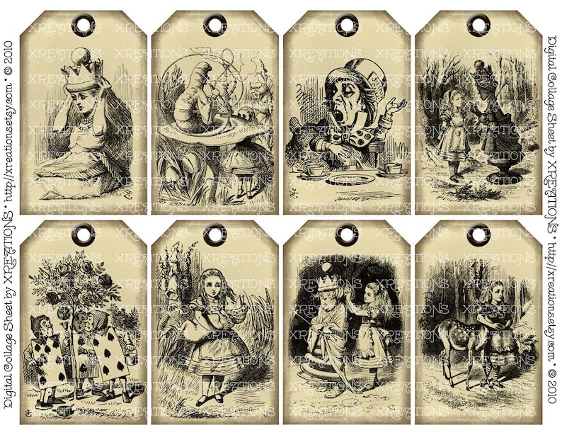 Alice in Wonderland in Shabby Vintage Hangtags  Gift tags 2 pages with 16 different hangtags