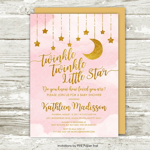 Twinkle Twinkle Little Star Baby Shower Invitation Pink And Etsy