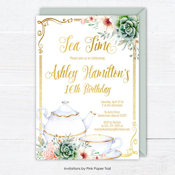 Birthday Tea Party Invitation Floral Succulents Pink Gold