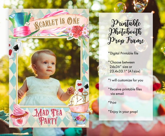 Alice In Wonderland Photo Booth Frame Props Floral Mad Tea Party For