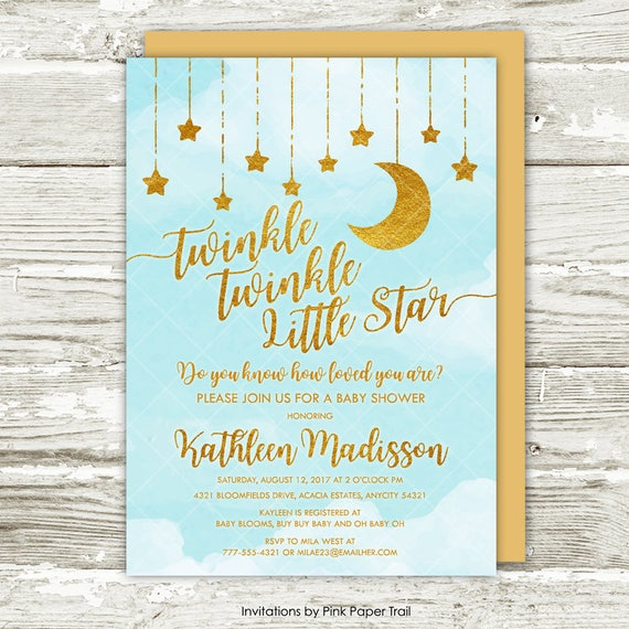 Twinkle twinkle little star baby shower invitation blue and gold il570xn filmwisefo