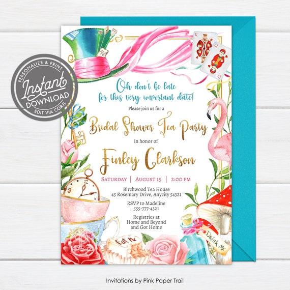 Mad Hatter Tea Party Alice in Wonderland Invitation   Birthday Invitation  Printable for Birthday or Wedding  coed  Baby Bridal shower