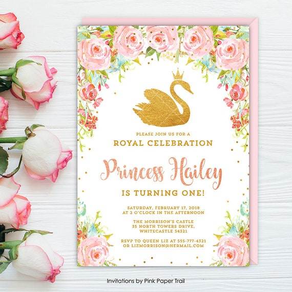 Swan Birthday Invitation Princess Party Pink Floral Gold Rose Printable Invite
