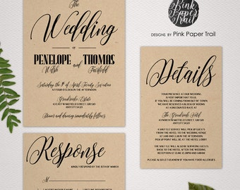 Printable Wedding Invitation Suite, Kraft Invitations, Choose Your Colors, I Will Customize for You, Print Your Own