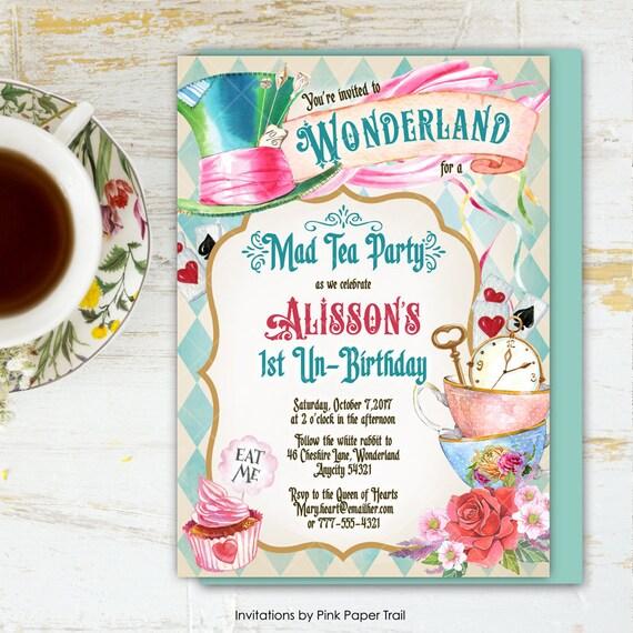 Alice In Wonderland Tea Party Birthday Invitation Mad Hatter Tea Party Birthday Invitation Onederland Printable Invitation 6v 1