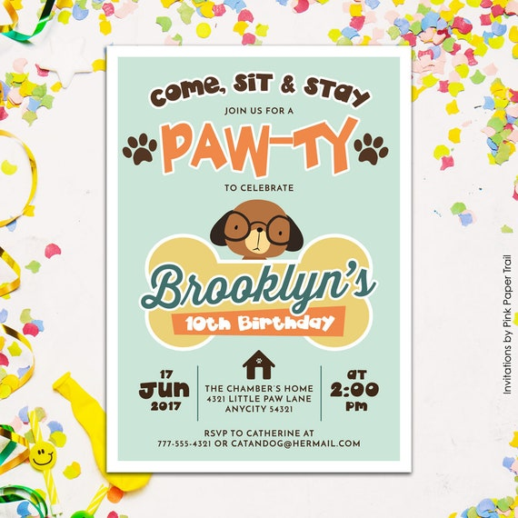 Cute Puppy Dog Birthday Party Invitation Paw Ty Adopt A Pet Boy Or Girl Printable Retro Colors