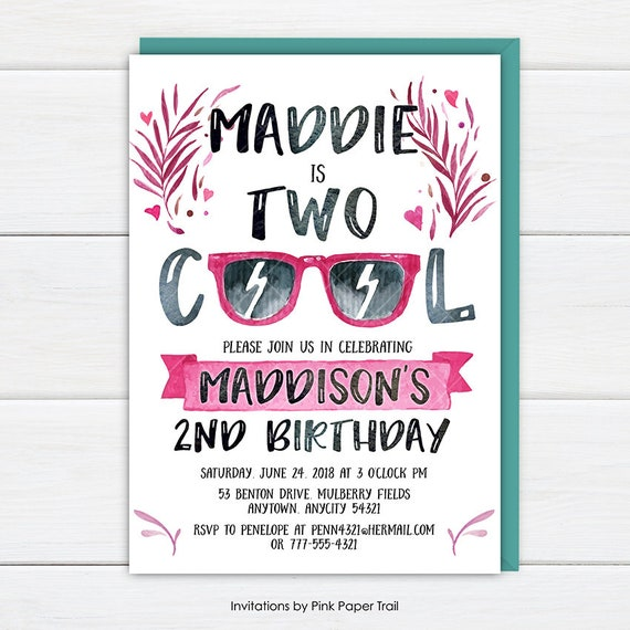 Two Cool Birthday Invitation Two Cool Birthday Party Invite Etsy