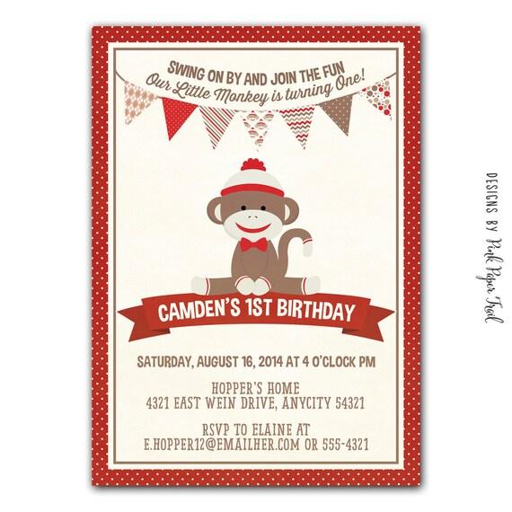Sock Monkey Party Invitation, Birthdays, Baby Shower