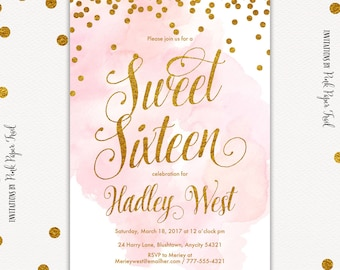 Pink and Gold Invitation, Gold Glitter and Pink, Blush Pink Birthday Invitation, I will customize, print your own