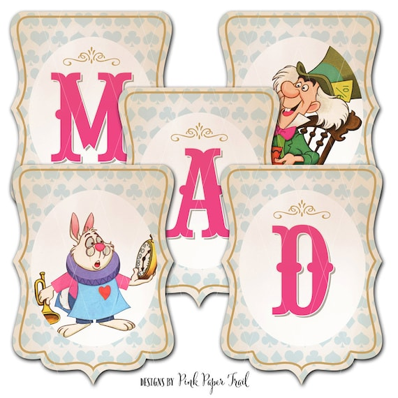 Personalised Alice in Wonderland Glossy Birthday Banners