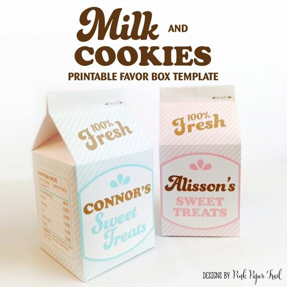 Vintage Retro Milk and Cookies Printable Milk Carton Favor Box | Etsy