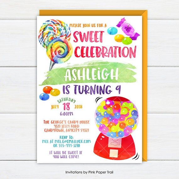 Candyland Invitation Candy Party Invite Sweet Shoppe