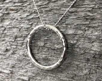 Silver Circle Pendant—Heavy Hammered Wire—Ready-to-Ship
