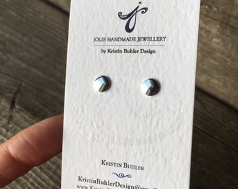 Silver Dot Studs—One Pair—Small Sterling Silver Circle—Post/Stud Earrings—Your Choice Shiny or Matte—Ready-to-Ship