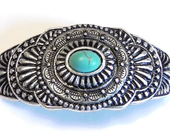 Saguaro Cactus Connector Turquoise Oval Cabochon and Blue Turquoise Rhinestone Double Link Antique Silver-tone