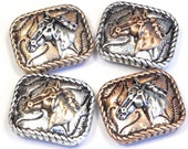 Four 2 Hole Slider Beads Horse Head Antiqued Tri Color Stamped Design Rope Frame Pony Western Equestrian Ranch Cowboy Cowgirl Farm Beads