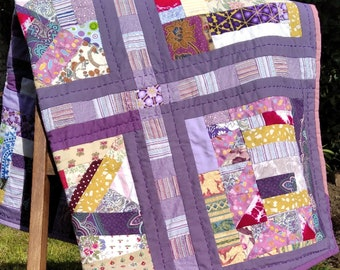 handmade purple patchwork quilt, colourful upcycled throw, squares scrap quilt, patio picnic garden throw, childs quilt, charity donation