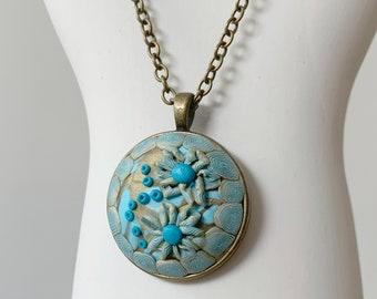 Aqua and gold pendant, necklace, handmade, charity fund-raiser